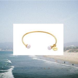 Jewelry - 14K Gold Plated Pearl Ball Open Cuff Bangle Bangle